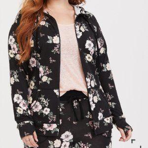 Torrid Black Floral Zip Hoodie Jacket Size 00